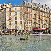 Statues and Art in the fountains outside the Centre Pompidou, Paris, France. Place Georges Pompidou. Panoramic shot. High resolution.