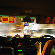 Interior of Hong Kong taxi