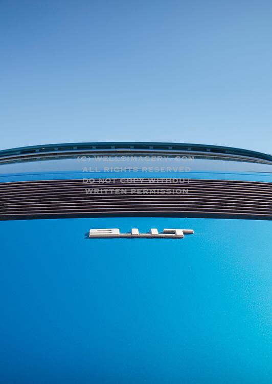 Image detail of a Metallic Blue 1972 Porsche 911T rear deck lid in Riverside, California, America west coast by Randy Wells