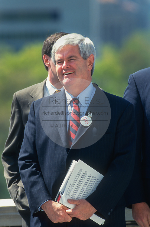 WASHINGTON, DC, USA - 1997/04/15: U.S. Speaker Newt Gingrich smiles during a rally of Republican members of Congress on Tax Day at the West side of the U.S. Capitol April 15, 1997 in Washington, DC. Gingrich is pushing for a constitutional amendment that would require a two-thirds vote in each chamber to increase taxes.  (Photo by Richard Ellis)