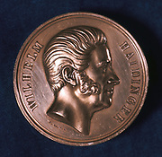 Wilhelm Karl, Ratter von Hardinger, c1871. Hardinger (1795-1871), Austrian mineralogist, geologist and physicist,  in 1840 was appointed Counsellor of Mines, Vienna.  In 1849 he became director of the Austrian Imperial Geological Institute. From the obverse of a commemorative medal.