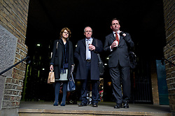 © London News Pictures. 18/02/2013 . London, UK.  Vicky Pryce (left) arriving at Southwark Crown Court with her legal team on February 18, 2013 where the jury is currently considering a verdict in the trial of Vicky Pryce for perverting the course of justice. Vicky Pryce admitted accepting penalty points incurred by her former husband and disgraced MP Chris Huhne in 2003. Photo credit : Ben Cawthra/LNP