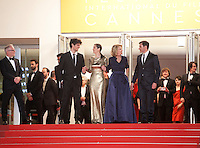 Actor Louis Garrel, actress Marion Cotillard, director Nicole Garcia, actor Alex Brendemühl, at the gala screening for the film Mal De Pierres (From the Land of the Moon) at the 69th Cannes Film Festival, Sunday 15th May 2016, Cannes, France. Photography: Doreen Kennedy