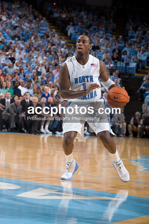 09 January 2008: North Carolina Tar Heels guard Marcus Ginyard (1) during a 93-81 win over the North Carolina Asheville Bulldogs at the Dean Smith Center in Chapel Hill, NC.