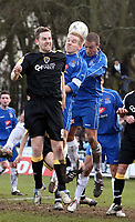 Photo: Mark Stephenson.<br /> Chasetown v Cardiff City. FA Cup Third Round. 05/01/2008<br /> Cardiff's Steve MCClean jumps for the ball.