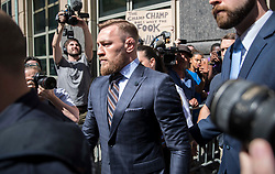 UCF fighter Conor McGregor outside of the Brooklyn Criminal court at 320 Jay Street. **NO NEW YORK DAILY NEWS, NO NEW YORK TIMES, NO NEWSDAY, NO MAILONLINE, NO DAILY MAIL, NO DAILY MAIL TV**. 13 Jun 2018 Pictured: Conor McGregor. Photo credit: Erik Thomas/NY Post / MEGA TheMegaAgency.com +1 888 505 6342
