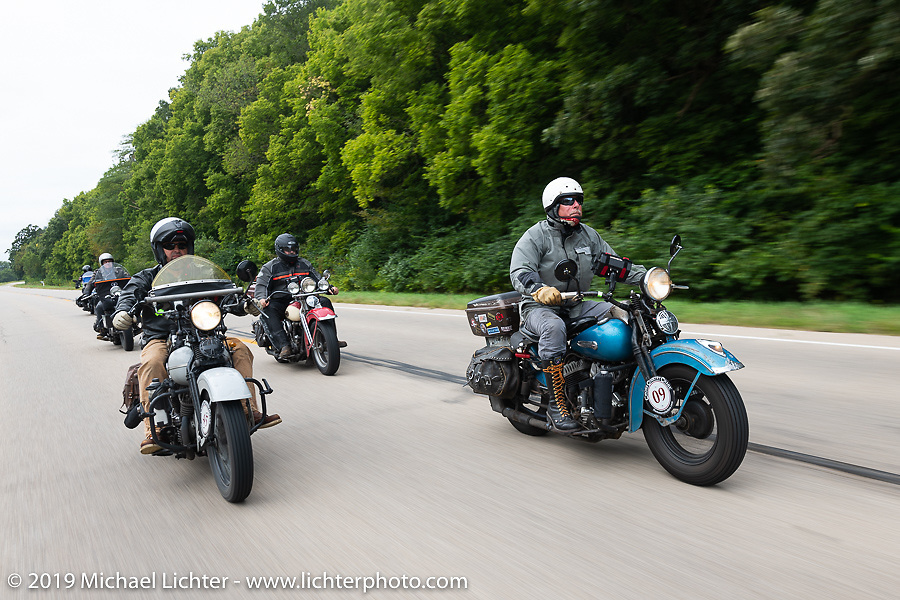 Chris Tribbey at the head of a group of riders during the Cross Country Chase motorcycle endurance run from Sault Sainte Marie, MI to Key West, FL (for vintage bikes from 1930-1948). Stage 3 from Milwaukee, WI to Urbana, IL. USA. Sunday, September 8, 2019. Photography ©2019 Michael Lichter.