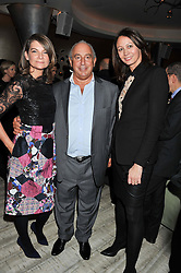 Left to right, NATALIE MASSENET, SIR PHILIP GREEN and CAROLINE RUSH at the Designer Fashion Fund Award hosted by The British Fashion Council and Vogue at Nobu Berkeley, 15 Berkeley Street, London on 29th January 2013.
