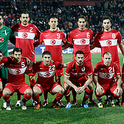 Turkey's players (Left to Right) (Front Row) Ismail KOYBASI, Emre BELOZOGLU, Sabri SARIOGLU, Serkan BALCI, Mehmet EKICI (Back Row) (Left to Right) goalkeeper Volkan DEMIREL, Servet CETIN, Umut BULUT, Hamit ALTINTOP, Selcuk INAN during their International friendly soccer match Turkey between South Korean at the Avni Aker stadium in Trabzon, Turkey on Wednesday 09 February 2011. Photo by TURKPIX