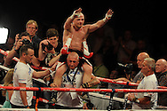 lightweight bout.<br /> Gavin Rees of Wales celebrates his win v Gary Buckland of Wales. 'The second coming'  boxing event at the Motorpoint Arena in Cardiff, South Wales on Sat 17th May 2014. <br /> pic by Andrew Orchard, Andrew Orchard sports photography.