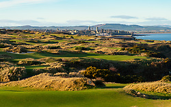 Winter afternoon view of The Castle Course golf links outside St Andrews in Fife, Scotland, UK
