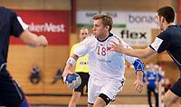 Håndball<br /> 7. April 2012<br /> EM- kvalifisering<br /> Herrer Jr.<br /> Framohallen<br /> Norge - Israel 39 - 21<br /> Vetle Eck Aga (M) , Norge<br /> Tal Hershkowitz (R) , Israel<br /> Foto: Astrid M. Nordhaug