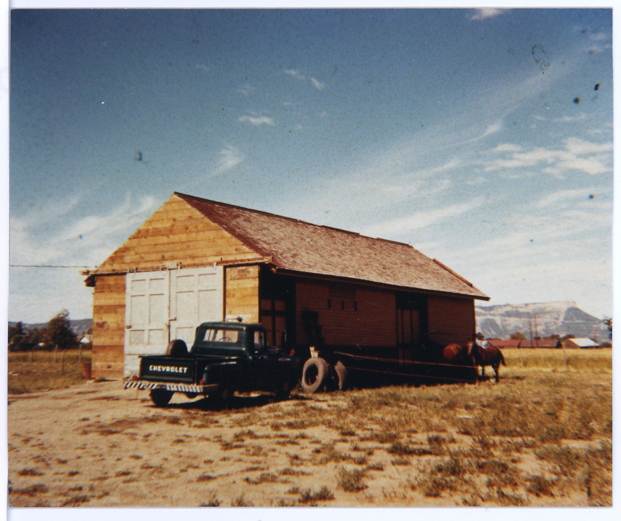 Possible freight house end of old RGS Dolores depot after it has been moved to another site.<br /> RGS  Dolores, CO