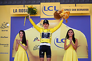 Podium, Hotess, Miss, Geraint Thomas (GBR - Team Sky) winner, yellow jersey during the 105th Tour de France 2018, Stage 11, Alberville - La Rosiere Espace Bernardo (108,5 km) on July 18th, 2018 - Photo Luca Bettini / BettiniPhoto / ProSportsImages / DPPI