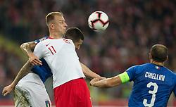 October 14, 2018 - Chorzow, Poland - Kamil Grosicki (POL), Giorgio Chiellini (ITA) during the UEFA Nations league match between Poland v Italy at the Slaski Stadium on October 14, 2018 in Chorzow, Poland. (Credit Image: © Foto Olimpik/NurPhoto via ZUMA Press)