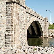 A new stone bridge George Washington Memorial Parkway connecting Columbia Island with the mainland.