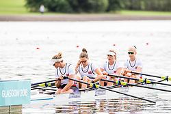 August 3, 2018 - Glasgow, UNITED KINGDOM - 180803 Marianne Madsen (bow), Hanna Inntjore (2), Anna Sture (3) and Inger Kavlie (stroke) of Norway compete in the Women's Rowing Quadruple Sculls repechage during the European Championships on August 3, 2018 in Glasgow..Photo: Jon Olav Nesvold / BILDBYRN / kod JE / 160281 (Credit Image: © Jon Olav Nesvold/Bildbyran via ZUMA Press)