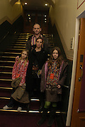Dinos Chapman with his wife and  Seraphine and Agathe, Opening night of Dralion. Cirque de Soleil's 20th anniversary. Royal Albert Hall. 6 jan 2005. ONE TIME USE ONLY - DO NOT ARCHIVE  © Copyright Photograph by Dafydd Jones 66 Stockwell Park Rd. London SW9 0DA Tel 020 7733 0108 www.dafjones.com