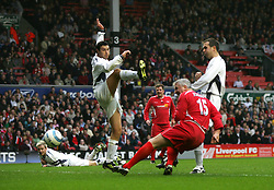 LIVERPOOL, ENGLAND - SUNDAY MARCH 27th 2005: Liverpool Legends' David Johnson scores with a header against the Celebrity XI during the Tsunami Soccer Aid match at Anfield. (Pic by David Rawcliffe/Propaganda)