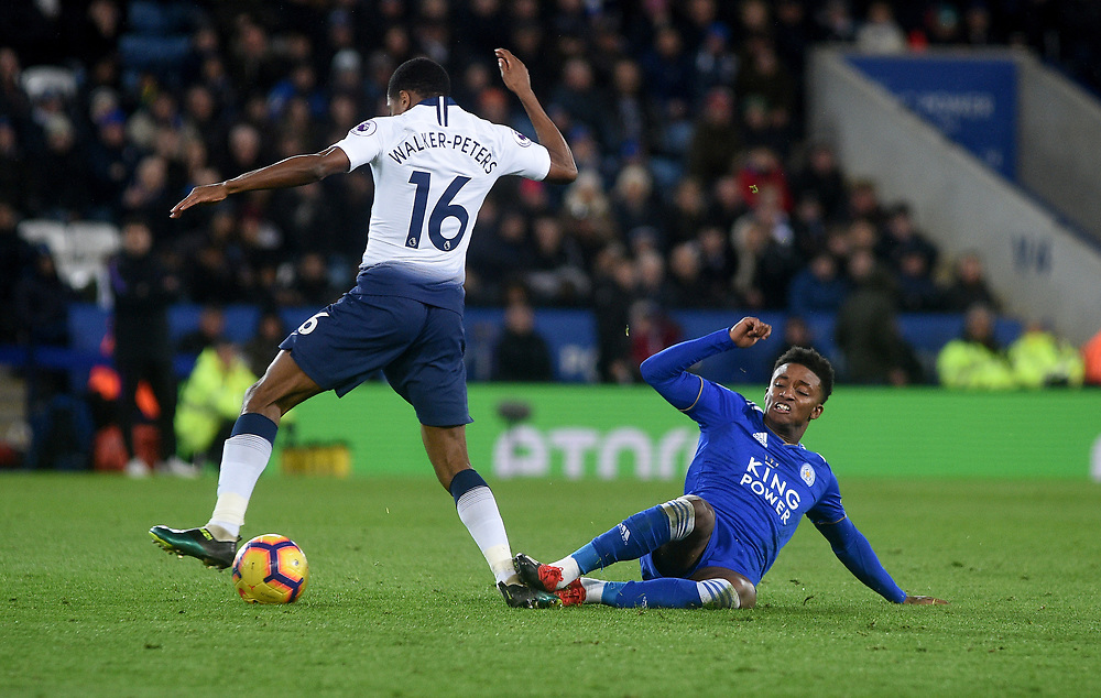 Leicester City's Demarai Gray battles with Tottenham Hotspur's Kyle Walker-Peters<br /> <br /> Photographer Hannah Fountain/CameraSport<br /> <br /> The Premier League - Leicester City v Tottenham Hotspur - Saturday 8th December 2018 - King Power Stadium - Leicester<br /> <br /> World Copyright © 2018 CameraSport. All rights reserved. 43 Linden Ave. Countesthorpe. Leicester. England. LE8 5PG - Tel: +44 (0) 116 277 4147 - admin@camerasport.com - www.camerasport.com