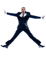 caucasian man businessman jumping scream isolated studio on white background