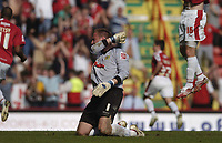 Photo: Jonathan Butler.<br /> Bristol City v Yeovil Town. Coca Cola League 1. 14/04/2007.<br /> Steve Mildenhall shows his frustration as he lets in Bradley Orr's penalty .