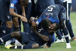 (L-R) Djibril Sidibe of France, Paul Pogba of France, Samuel Umtiti of France during the 2018 FIFA World Cup Russia Final match between France and Croatia at the Luzhniki Stadium on July 15, 2018 in Moscow, Russia