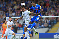 Ivan Toney and Kgosi Nthle during the EFL Sky Bet League 1 match between Rochdale and Peterborough United at Spotland, Rochdale, England on 11 August 2018.