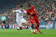 Billy Jones of Sunderland (l) and Roberto Firmino of Liverpool battle for the ball. Premier League match, Liverpool v Sunderland at the Anfield stadium in Liverpool, Merseyside on Saturday 26th November 2016.<br /> pic by Chris Stading, Andrew Orchard sports photography.