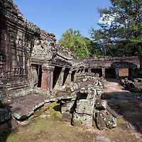 Banteay Kdei was built in the 12th century. The Angkor temple is located 2km east of Angkor Thom.