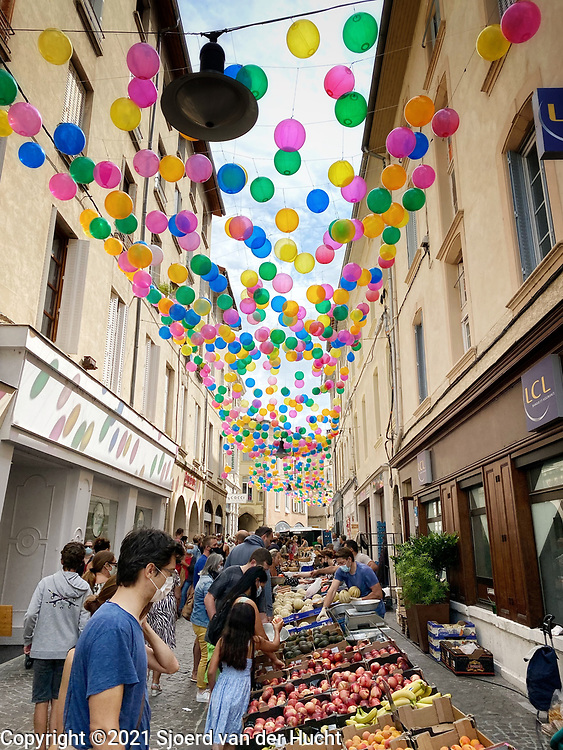 Market in the streets of Romans-sur-Isere, France