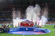 CHAMPIONS Liverpool lift the trophy and celebrate after Liverpool win the UEFA Champions League Final match between Tottenham Hotspur and Liverpool at Wanda Metropolitano Stadium, Madrid, Spain on 1 June 2019.