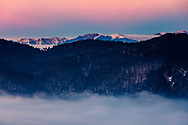 The ridge of Central Balkan Mountains at sunset in winter time