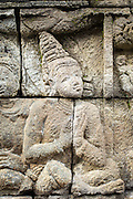 Bass relief wall engraving, Borobudur, Kedu Valley, South Central Java, Java, Indonesia, Southeast Asia