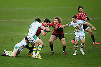 Rugby Union - 2020 / 2021 Gallagher Premiership - Gloucester vs Northampton Saints - Kingsholm<br /> <br /> Gloucester's Mark Atkinson is tackled by Northampton Saints' Dan Biggar and Alex Mitchell.<br /> <br /> COLORSPORT/ASHLEY WESTERN