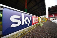 SkyBET advertising board at the home end at The County Ground before the EFL Sky Bet League 2 match between Swindon Town and Yeovil Town at the County Ground, Swindon, England on 10 April 2018. Picture by Graham Hunt.