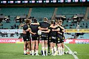 Hurricanes huddle pregame. Waratahs v Hurricanes. 2021 Super Rugby Trans Tasman Round 1 Match. Played at Sydney Cricket Ground on Friday 14 May 2021. Photo Clay Cross / photosport.nz