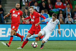 October 28, 2016 - Melbourne, Victoria, Australia - FERNANDO BRANDAN (27) of Melbourne City is fouled in the round 4 match of the A-League between Melbourne City and Adelaide United at AAMI Park, Melbourne, Australia. Melbourne won 2-1 (Credit Image: © Sydney Low via ZUMA Wire)
