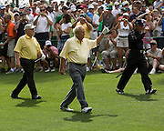 Arnold Palmer, Jack Nicklaus and Gary Player play in the Par 3 tournament before the 2010 Masters in Augusta, GA