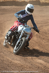 Saturday Run-What-You-Brung flat track racing at the Handbuilt Motorcycle Show. Austin, TX, USA. April 9, 2016.  Photography ©2016 Michael Lichter.