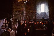 Romania.Humore. prayer in the monastery for easter.  / Humore  Roumanie costume soeur en priere