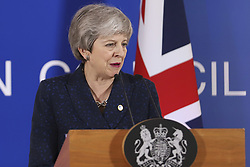 March 22, 2019 - Brussels, Belgium - Theresa May Prime Minister of the United Kingdom and Leader of the Conservative Party as seen in press conference after the European Council meeting with Brexit as the main topic. EU leaders agreed to postpone Brexit and article 50. The meeting too place in Forum Europa Brussels, Belgium on 21 March 2019. (Credit Image: © Nicolas Economou/NurPhoto via ZUMA Press)