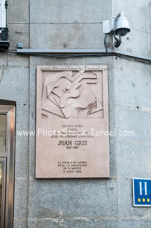 Plaque on the house of birth of Spanish Cubist painter and sculptor JUAN GRIS aka José Victoriano González-Pérez central Madrid Spain