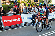 Egan Bernal hitching a handlebar ride from Chis Froome following Stage 5 of 2019 Volta Catalunya.<br />