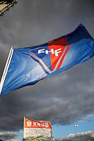 BLOEMENDAAL - EHF  en KNHB vlag tegen een mooie wolkenlucht.  . Euro Hockey League 2015 . COPYRIGHT KOEN SUYK