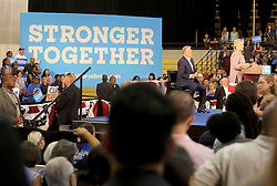 Hillary Clinton addresses the crowd at Miami Dade College in Kendall with former Vice President Al Gore. The two discussed climate change as well as the upcoming election. Miami, FL, USA, October 11, 2016. Photo by Mike Stocker/Sun-Sentinel/TNS/ABACAPRESS.COM