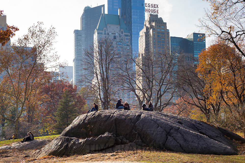 New Yorkers chilling out in winter time in Central Park, New York, USA