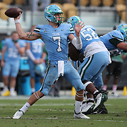 ORLANDO, FL - OCTOBER 24: Quarterback Michael Pratt #7 of the Tulane Green Wave throws a pass against the Central Florida Knights at Bounce House-FBC Mortgage Field on October 24, 2020 in Orlando, Florida. (Photo by Alex Menendez/Getty Images) *** Local Caption *** Michael Pratt