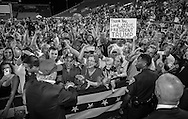 Aug. 21. 2015 Mobile, AL, Republican presidential candidate and business mogul Donald Trump mixes it up with fans at  a campaign pep rally in Ladd Peebles Stadium. Around 20 thousand came to the Ladd-Peebles Stadium to attend Trumps campaign pep rally. People were asked not to bring signs.