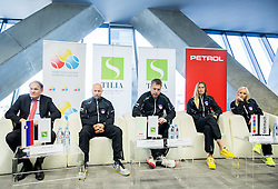 Mark Umberger, Andrej Krasevec, Zoran Kofol, Polona Hercog and Tadeja Majeric during press conference of Slovenian women Tennis team before Fed Cup tournament in Tallinn, Estonia, on January 28, 2015 in Kristalna palaca, Ljubljana, Slovenia. Photo by Vid Ponikvar / Sportida